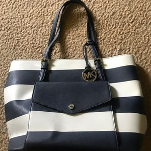 Michael Kors navy and white striped pocketbook
